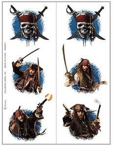 Pirates Of The Caribbean Temporary Tattoos with Jonny Depp