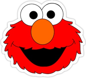 Sesame Street sticker of Elmo's face