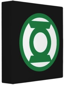 Avery school binder with the Green Lantern logo