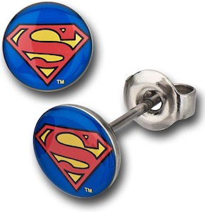Superman man of steel logo earrings