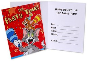 Tom and Jerry party invitations