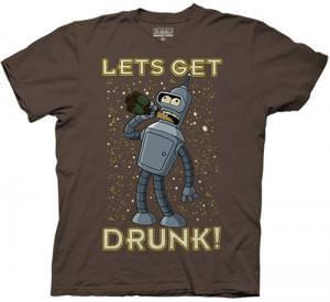 Futurama Bender Lets Get Drunk T-Shirt.