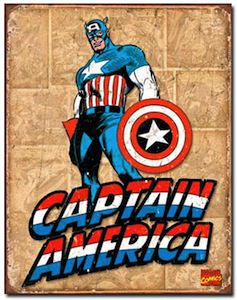 Retro style Captain America metal sign