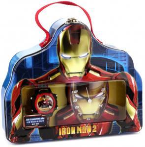 Marvel Comics Iron Man Clock and Watch Set