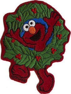 Sesame Street Elmo Christmas Wreath Clothing Patch