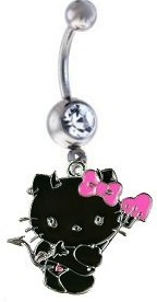 Hello Kitty Black Devil Dangle Belly Ring
