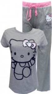 Wave Hello To Hello Kitty Grey and Pink Pajama Set for women