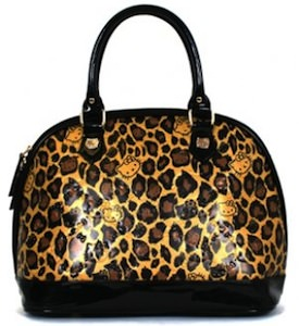 Leopard print hello kitty handbag