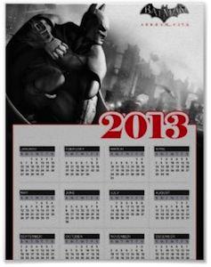 Batman 2013 poster calendar