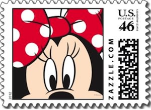 Red And White Minnie Mouse Postage Stamp