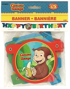 Curious George Happy Birthday Banner