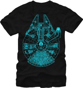 Star Wars Glow In The Dark Millennium Falcon T-Shirt