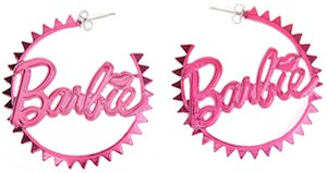 Barbie pink hoop earrings