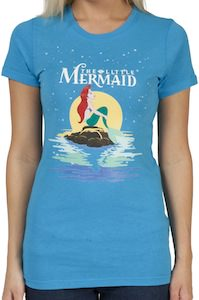 Ariel The Little Mermaid on a rock t-shirt