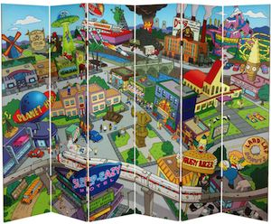 The Simpsons Spingfield Town Map Folding Screen