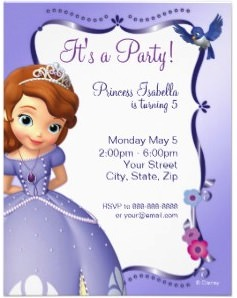 Disney Sofia The First Birthday Invitations